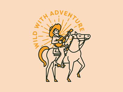 Wild With Adventure old west logo identity guitar horse cowboy desert southwest vector minimal illustration