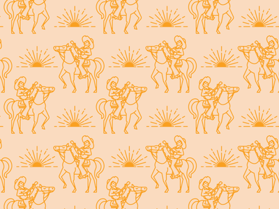 Wild With Adventure Pattern vector old west surface design pattern horse guitar cowboy desert southwest minimal illustration