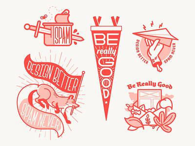 Really Good Emails - Brand Illustrations flat email marketing email branding badge vector minimal illustration