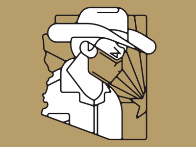 Mask Up AZ character cowboy desert southwest vector covid mask az arizona minimal illustration