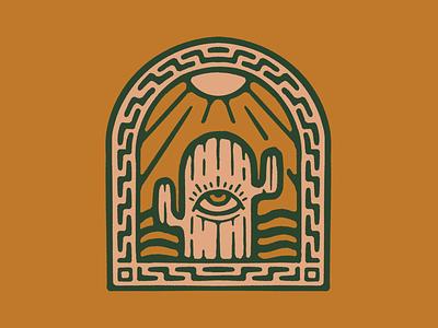All-Seeing Cactus logo badge occult cactus desert flat southwest minimal illustration