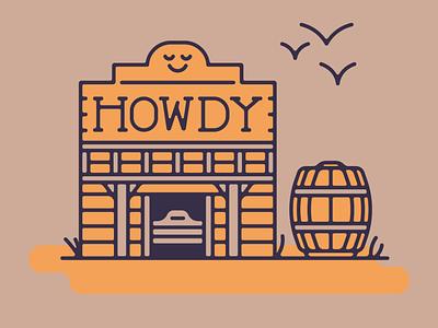 Howdy Saloon flat cute cowboy desert southwest vector minimal illustration
