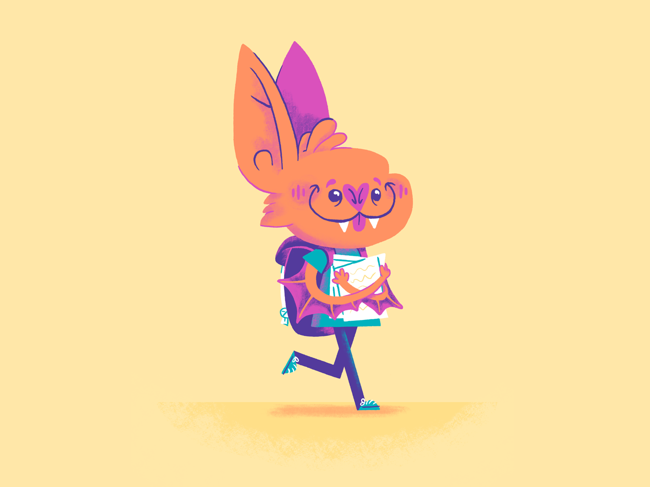 Batkid student cute bat animal character design minimal illustration