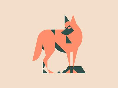 On the Prowl desert flat sonoran desert coyote southwest animal vector character minimal illustration