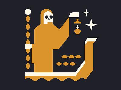 Charon ferryman grim reaper flat geometric charon skull skeleton vector character character design minimal illustration