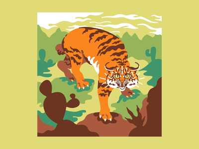 Bobcat flat cactus desert bobcat southwest animal vector character character design minimal illustration