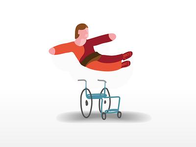 man on the wheelchair flat 3d illustrations illustration