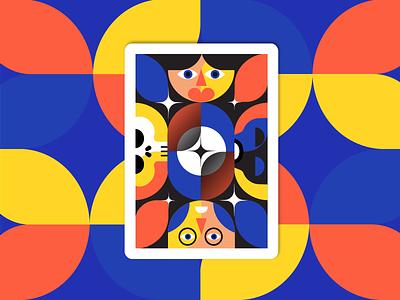 Back WTF deck of cards illustration flat vectors logo icon