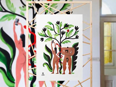 Adam Eve illustration poster mural