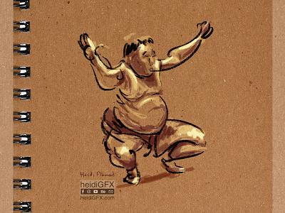 Sumo  Wrestler - Digital Illustration art drawing gesture flow spontaneous lines sumo wrestler digital ink digital painting digital illustration