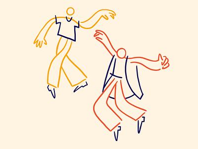 Dancing lineart design graphic line character illustartor illustration dance