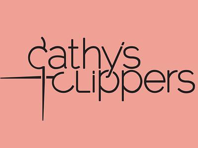Cathy's Clippers hair salon salon hair cut hair shears scissors logo design logo
