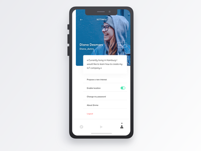 Givme - Profile settings settings profile user tasks development personal mobileapp experience evolution ux user experience ui prototyping navigation intuitive interactive graphic digital design app