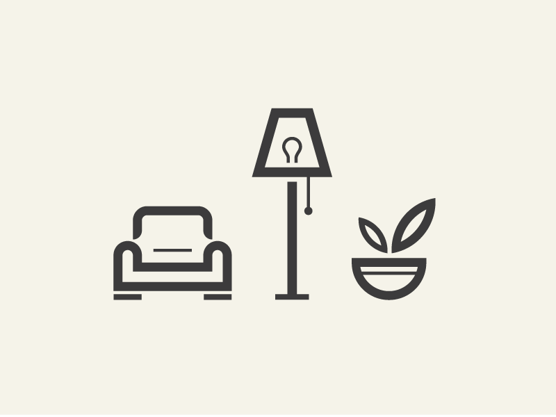 Furniture icons sodafish furniture interior decor icons chair pictogram icon lamp lighting plant