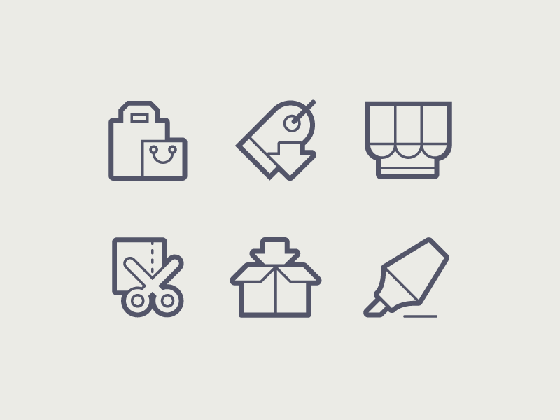 Online Shopping Icons sodafish icons outline line contour design ecommerce shopping web