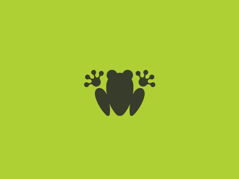 Frog icon sodafish green flat top view pictogram minimal abstract icon logo frog
