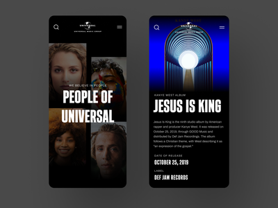 Universal Music Group #2 layout universal app mobile music ux interaction interface design dark ui website web typography