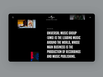 Universal Music Group #3 ux ui music interface interaction design dark website web typography animation