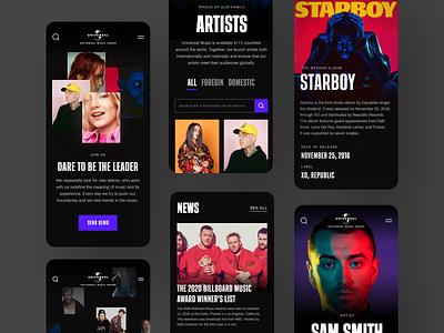 Universal Music Group #4 interface app ux ui music design dark website web typography