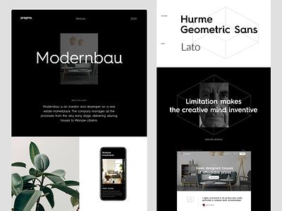 Modernbau - Case study interaction interface design branding website web typography ui dark