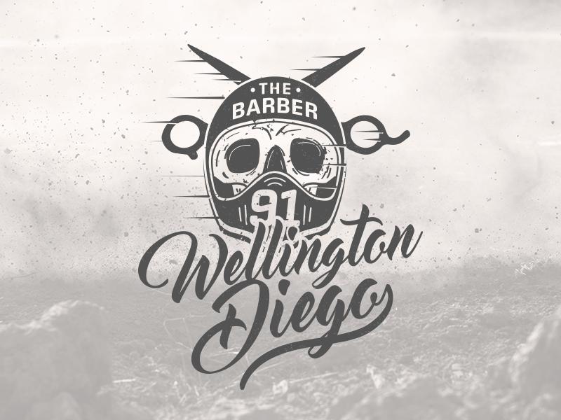 WD 91 The Barber barber skull motorcycle lettering logo branding