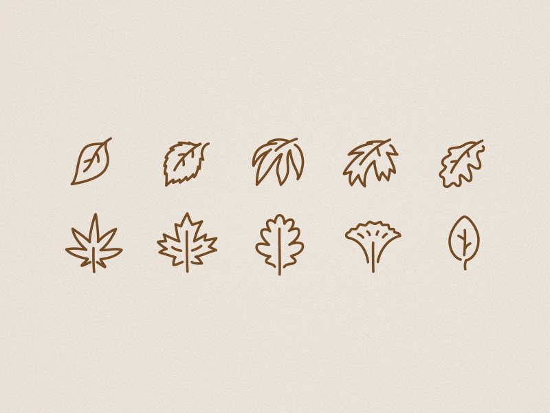 Icons autumn leaves