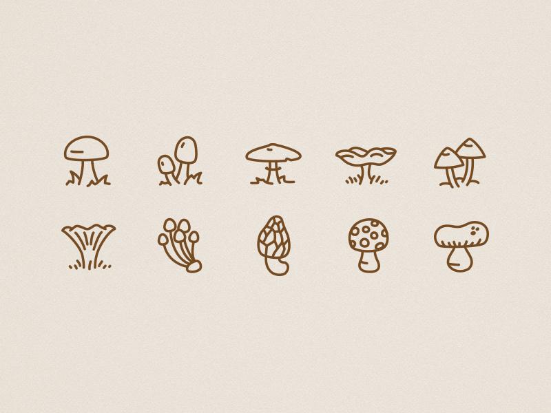Icons autumn mushrooms