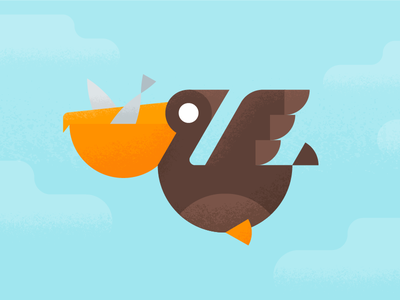 Happy Pelican illustration vector animal bird geometric pelican material