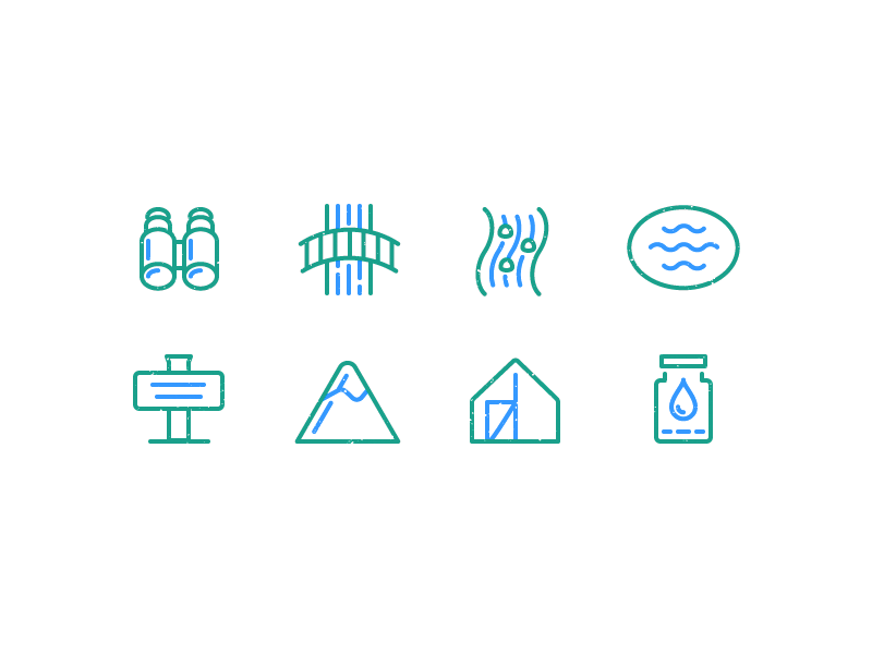 Outside + Stuff Icons water trailhead tent lake river binoculars outline icons outdoors outside