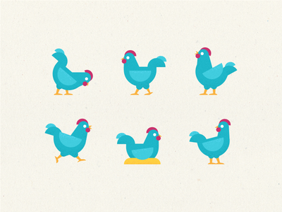 Chickens farm 鳥 鶏 vector set geometry bird chicken