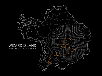 Wizard Island line art geography trail map cartographic topographic