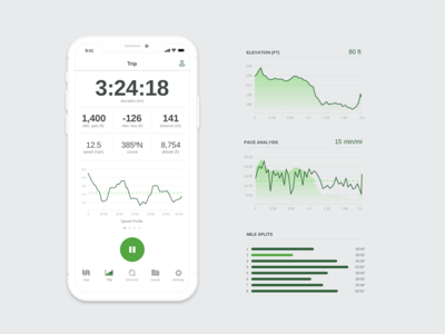 Let's take a trip graphs fitness outdoors sports ios 10 design ux visual interaction data mobile stats ui app