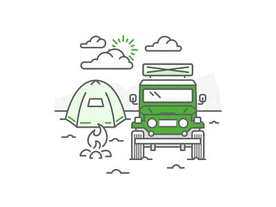 Overlanding Illustration overland line art camping jeep fj40 4x4 offroad overanding vector icon outdoors illustration