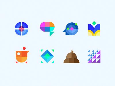 Geometric Pattern Logo Set mosaic leaderboard head brain beaker artificial intelligence geometric brand identity icon logo