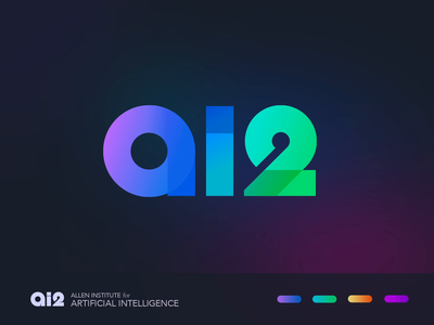 AI2 Logo Concept - Basic Shapes gradient artificial intelligence retro brand identity vector logo icon illustration