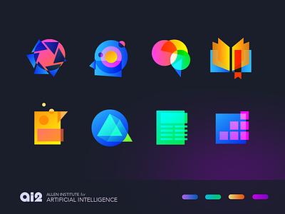 Basic Shapes - Logo Set gradient artificial intelligence set geometric branding identity vector logo icon illustration