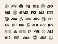 40 Logo Concepts for AI2 geometric initials acronym artificial intelligence brand identity logo icon illustration