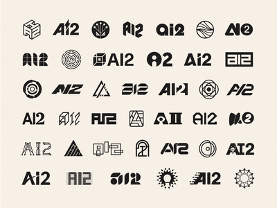 40 Logo Concepts for AI2 geometric initials acronym artificial intelligence brand identity logo icon illustration