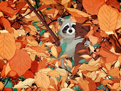 Autumn Racoon racoon animal drawings digitalart illustration