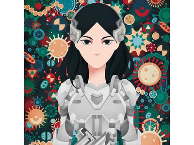 Robot girl drawing digitalart illustration