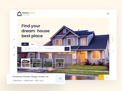 HomeXpress - Property Agency Header Concept! colorful minimalist property web webdesign uidesign ui  ux typogaphy branding creative design property finder buyhouse header design header exploration property search header property management property agency 2k20