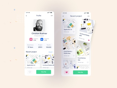 Jobify - Profile App Screen Concept! designer portfolio kshuvon jobs agency typography branding creative minimal app design app ui apparel app design ui design ui  ux job portal job search job seeker job board job application job listing job