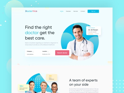 Doctorweb - Doctor Searching  Landing Page Website doctor landingpage doctor landingpage doctors ui deisgn find doctor doctor doctor searching doctor searching doctor website doctor appointment web colorful ux concept webdesign branding creative typography ui agency