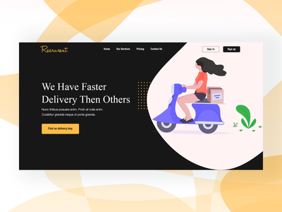 Food Delivery Header Concept (Dark Version)