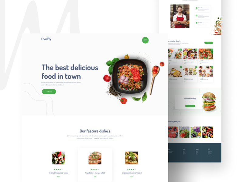 Foodfly Landing Page Design Concept concept web delicious food user experience userinterface branding ui design kshuvon chillingmanits restaurant food creative design web design landingpage ux uiux ui