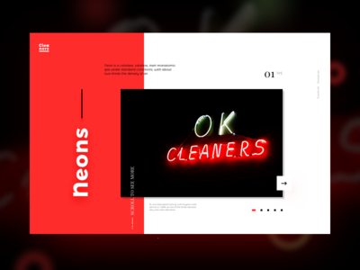 Neons web design neons ui typography red image hero composition colors blure black grid