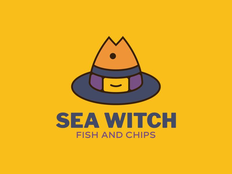 Sea Witch Fish and Chips 🐠🧙♀️ illustrator animal logo illustration vector minimal design restaurant logo food logo fish logo fish witch witch logo logo design branding logo