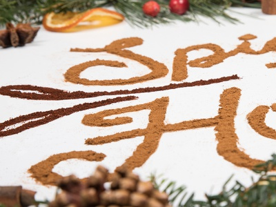 ICS Holiday Card food typography merry christmas holidays pine trees spice typography food type mulling spices cinnamon holiday card lettering