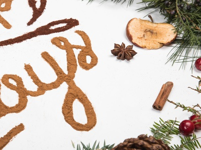 ICS Holiday Card typography food type mulling spices cinnamon holiday card lettering