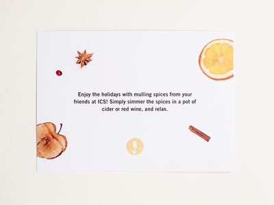 ICS Holiday Card food typography design studio hand lettering lettering holiday card cinnamon mulling spices food type typography